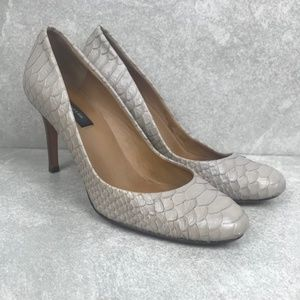 Ann Taylor Cream/Grey Snakeskin Pumps Size 6M